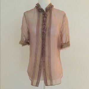 Elie Tahari dusty rose blouse